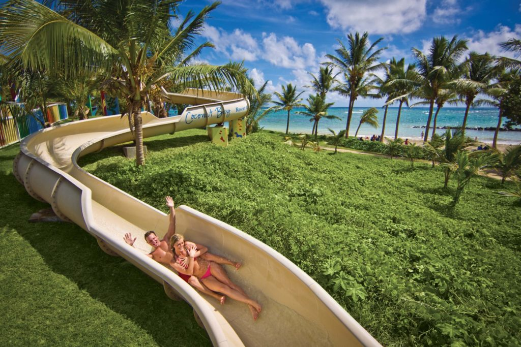 Waterslide at Coconut beach St Lucia - Caribbean holiday photo