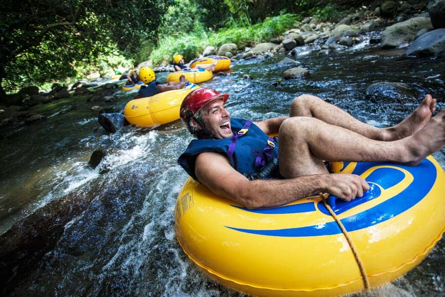 River tubing while on holiday in Grenada
