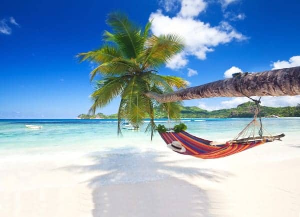 Caribbean beach holiday with hammock on a white sand beach