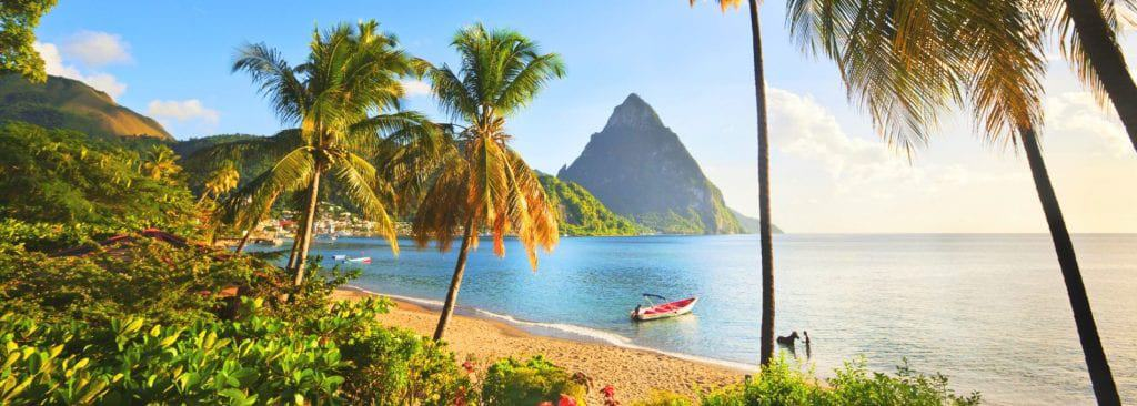 Saint Lucia holiday view with gorgeous beach and mountainous backdrop