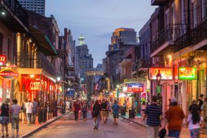 NEW ORLEANS, LOUISIANA - AUGUST 23: Pubs and bars with neon lights  in the French Quarter, downtown New Orleans on August 23, 2015.