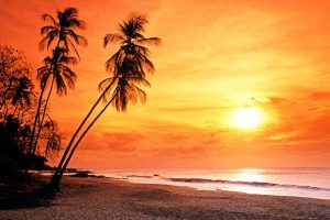 Grafton beach nearing sunset, Tobago, Trinidad and Tobago, Caribbean, West Indies