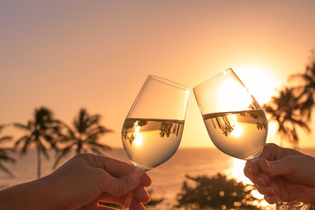Luxury Sunset in the Caribbean with champagne