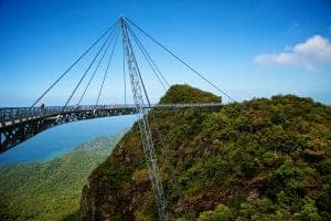 The bridge is a viewing platform. View point. Langkawi island.