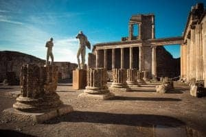 Ruins of ancient city of Pompeii, which was destroyed by volcano, Mount Vesuvius, about two millenniums ago, 79 AD. Buildings are still very well preserved, a lot of walls still standing. The place is open for visitors and it's a popular destination for tourists in Italy.