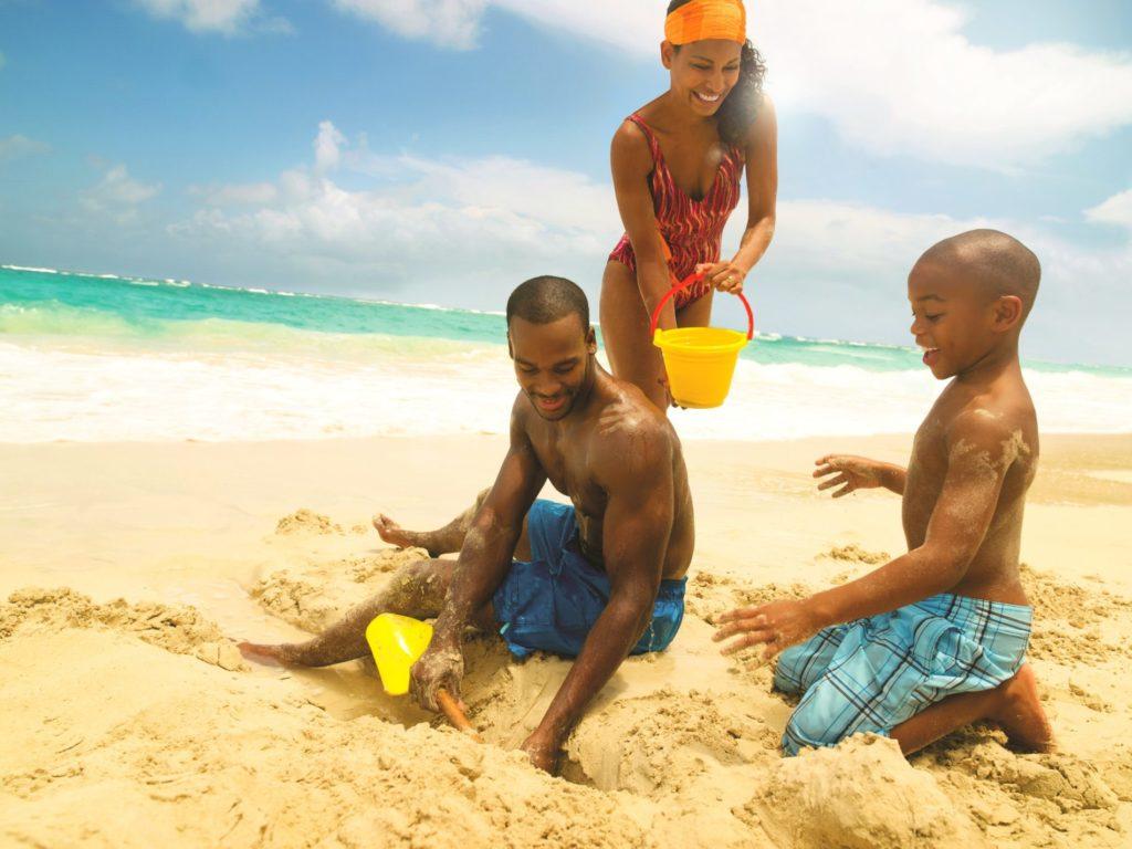 Family holiday at the beach