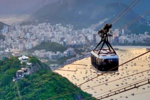Cable car up Sugraloaf Mountain in Brazil