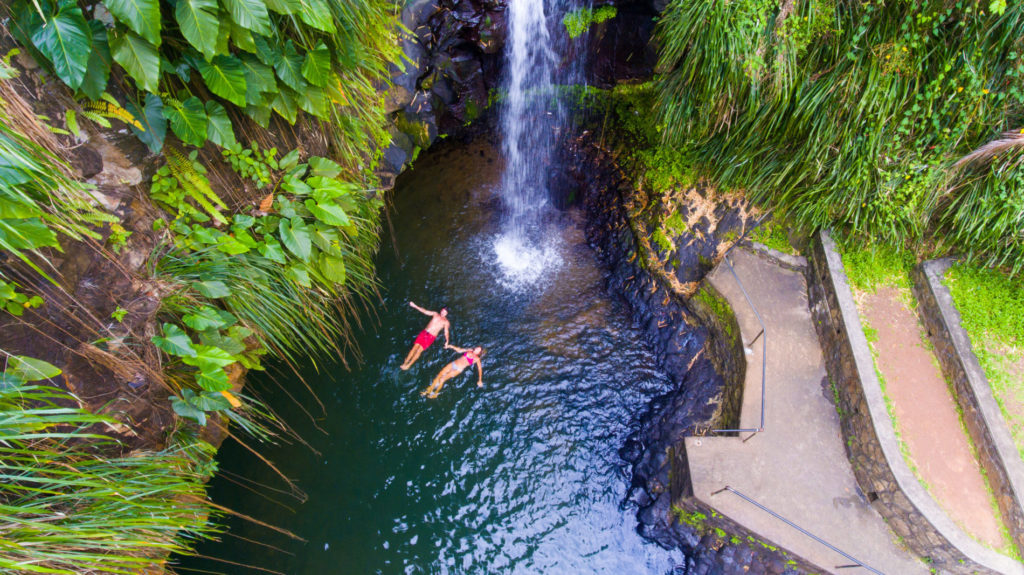 Waterfall swimming on holiday in Grenada