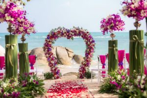 A stunning destination wedding set up on the beach