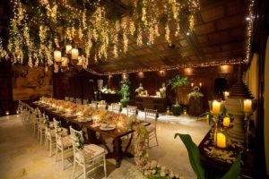 Stunning table setting at a destination wedding that looks like a fairytale