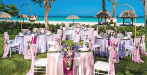 Table settings for a wedding abroad on the beach
